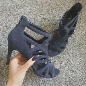SOLE SOCIETY NAVY CAGE SANDAL HEEL SIZE 10